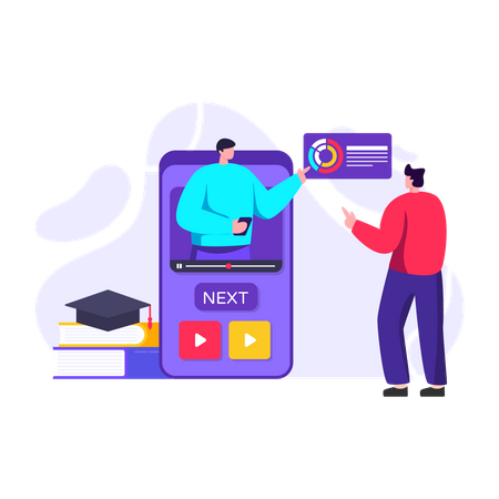 Student learning through online video training Illustration