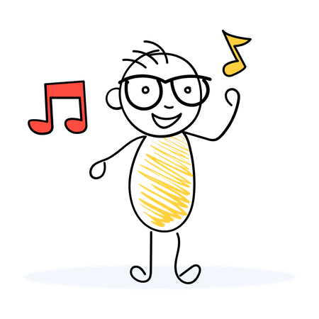 Student listening Music Illustration