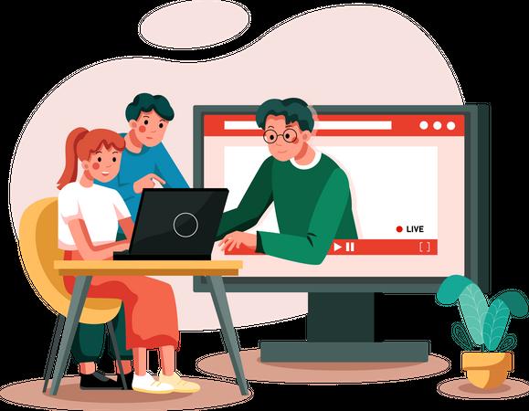 Student Making online Project Illustration