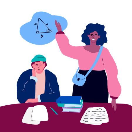 Student on a lesson Illustration