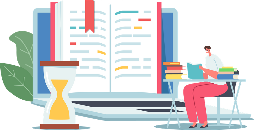 Student reading e book for exam preparation Illustration