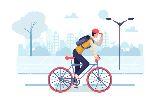 Student riding cycle to reach school Illustration