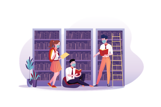 Student wearing mask and studying in the library Illustration