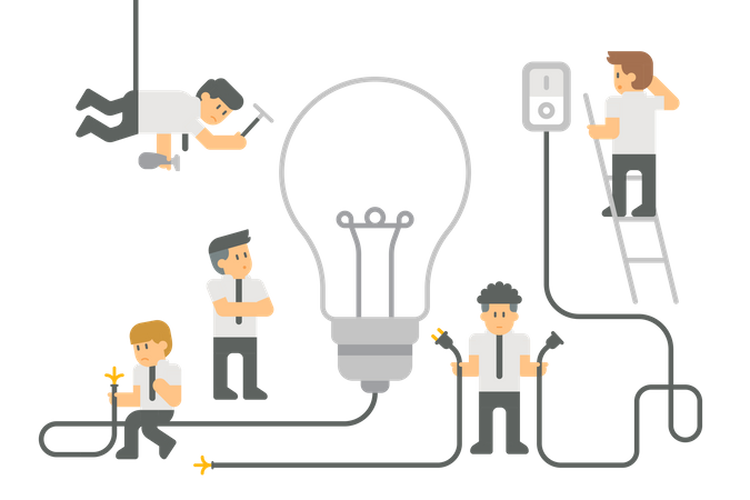 Student with bulb and wiring Illustration