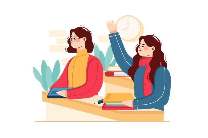 Student with doubt raising hand in the classroom Illustration