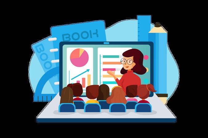 Premium Students attending online classes Illustration ...