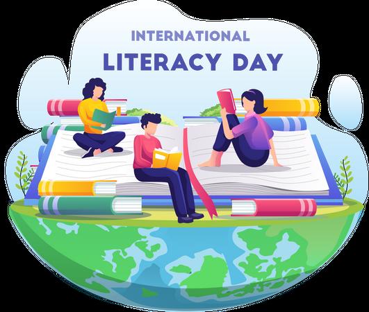 Students celebrating international literacy day by reading book Illustration