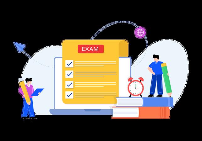 Students giving online exam Illustration
