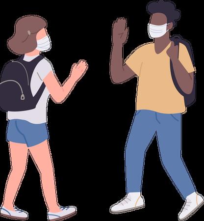 Students in medical masks Illustration