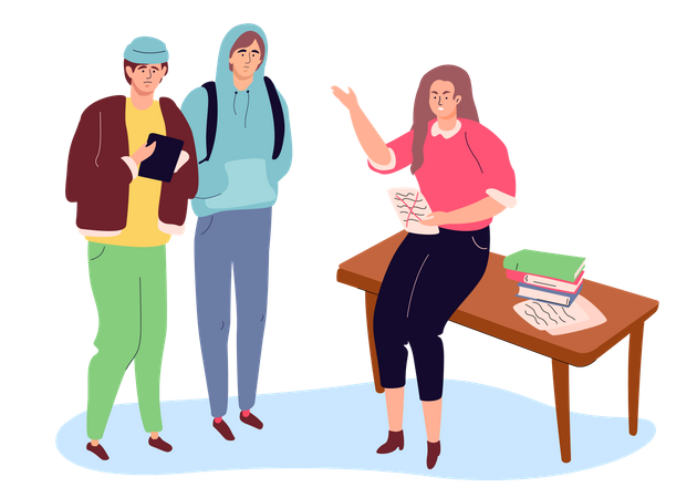 Students on a lesson Illustration