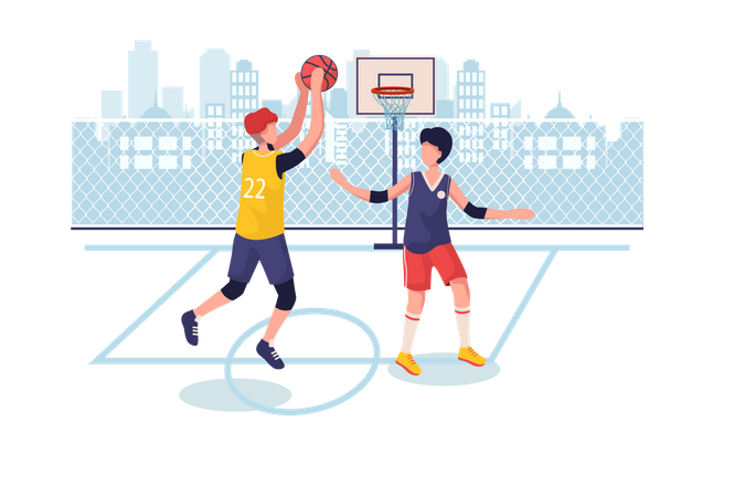 Students playing basketball at ground Illustration