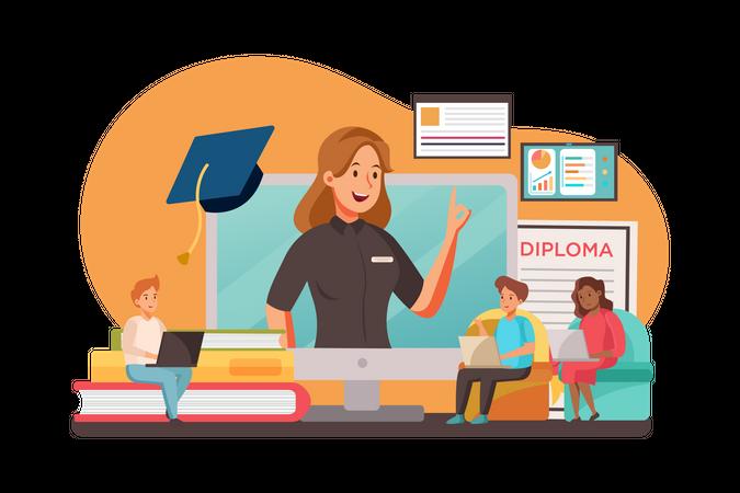 Students studying in online degree program Illustration