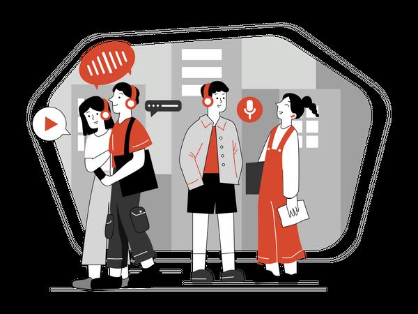 Students using language translator for communications Illustration
