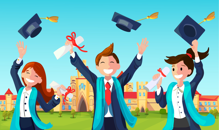 Students with Congratulations Throwing Graduation Hats in Air Celebrating Illustration
