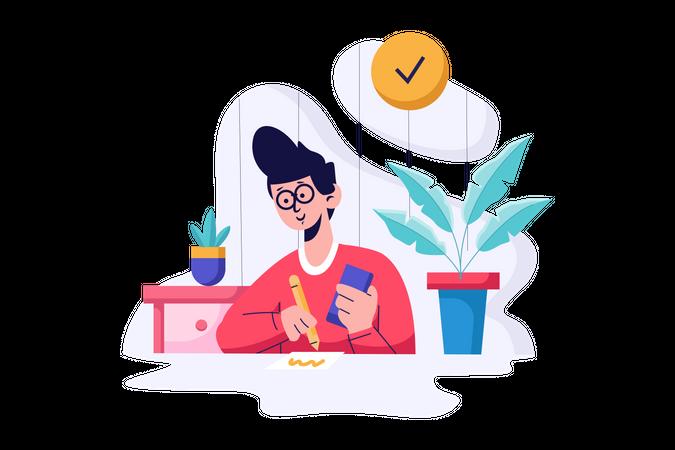 Study at Home Illustration