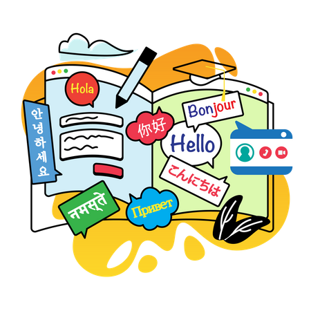 Study languages Illustration