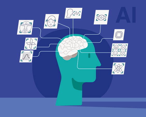 Study of the capabilities of the human brain for application to the development of artificial intelligence Illustration