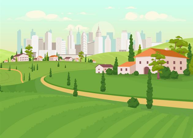 Suburban area Illustration