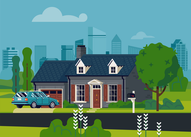 Suburban single family house with large city in the background Illustration