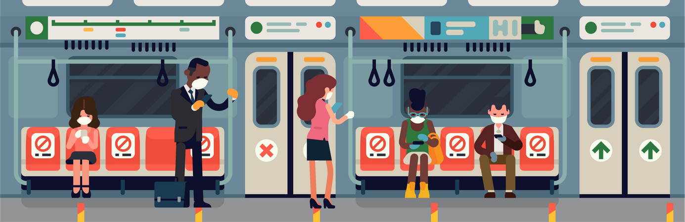 Subway commuters during coronavirus pandemic safety measures campaign Illustration