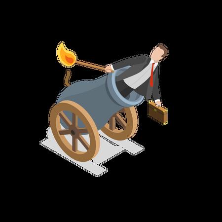 Successful business launch Illustration