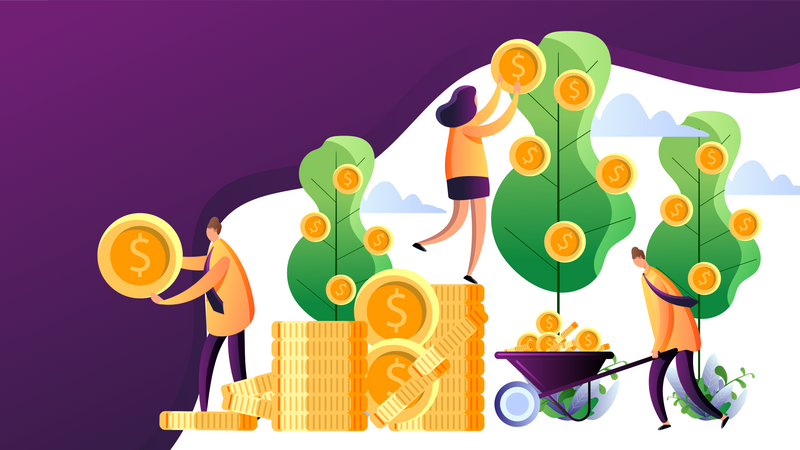 Successful business persons harvesting money Illustration