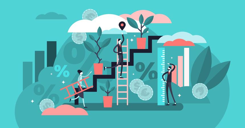 Successful businessman profit management and development strategy Illustration