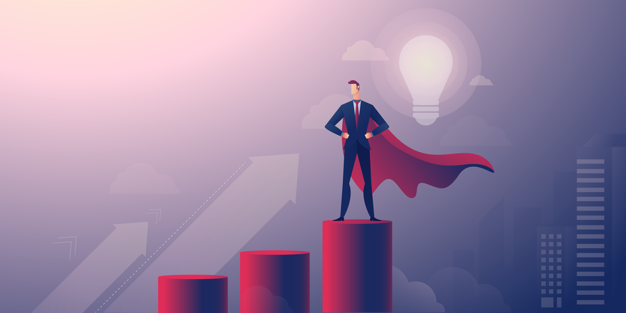 Successful businessman standing on giant bar chart Illustration