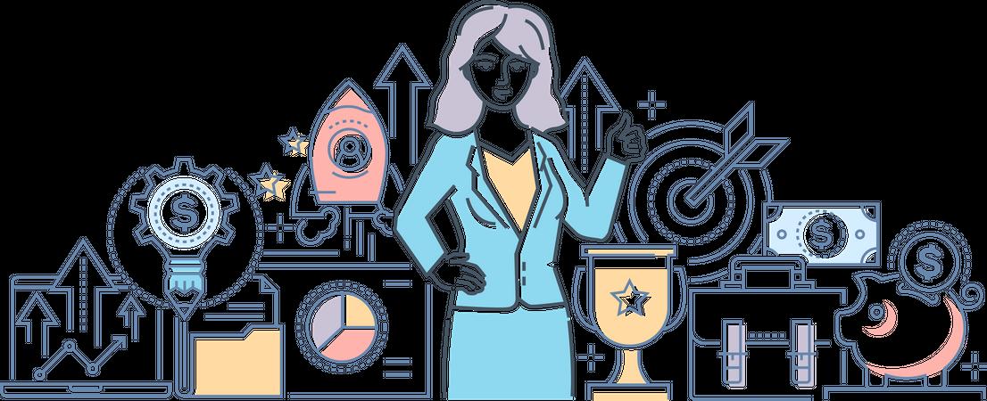 Successful businesswoman Illustration