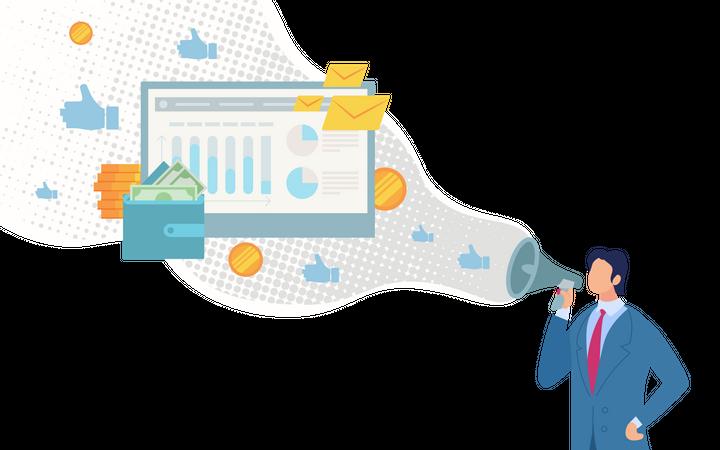 Successful Digital Marketing Strategy Illustration