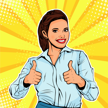 Successful female businesswoman showing thumb up Illustration