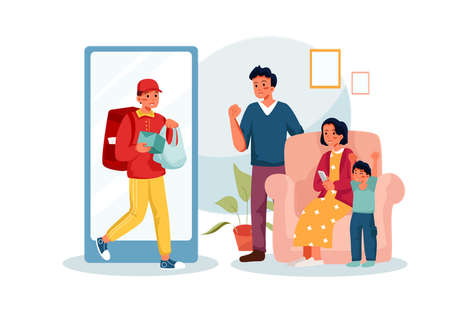 Successful home Delivery Illustration