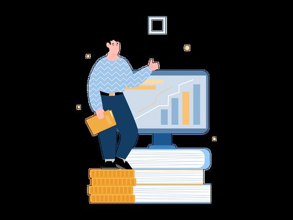 Successful investor or businessman Illustration