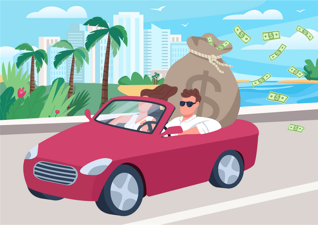 Successful man in car with money bag Illustration