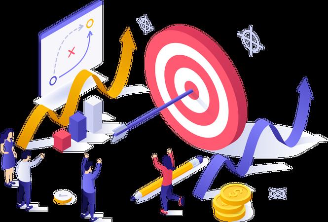 Successful marketing strategy Illustration