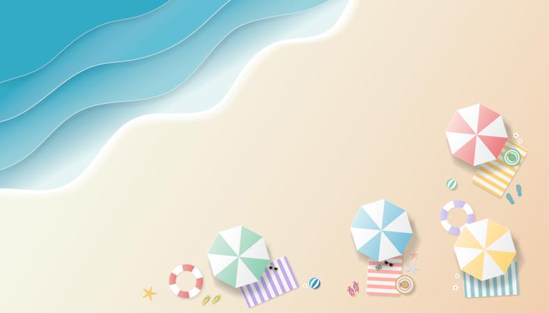 Summer background paper art style Illustration