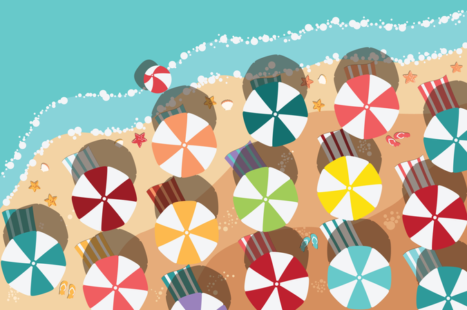 Summer beach in flat design, sea side and beach items Illustration