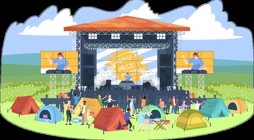 Summer camping DJ festival Illustration
