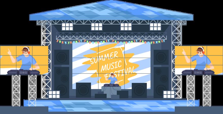 Summer DJ music festival Illustration