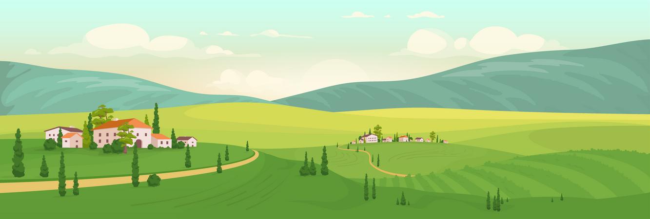 Summer In Italian Village Illustration
