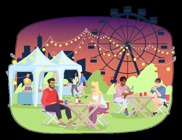 Summer night fair Illustration