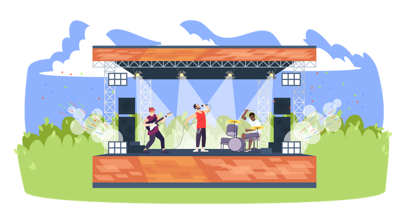 Summer rock festival Illustration