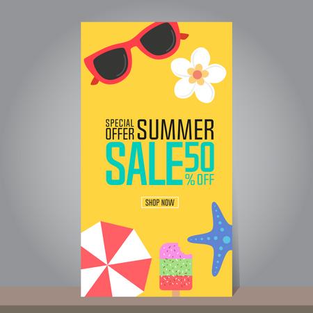 Summer Sale Banner Illustration
