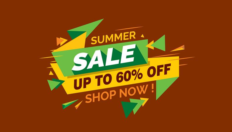 Summer Sale, Colorful Sale Banner Label, Discount Sale, Promo Sale Card Illustration