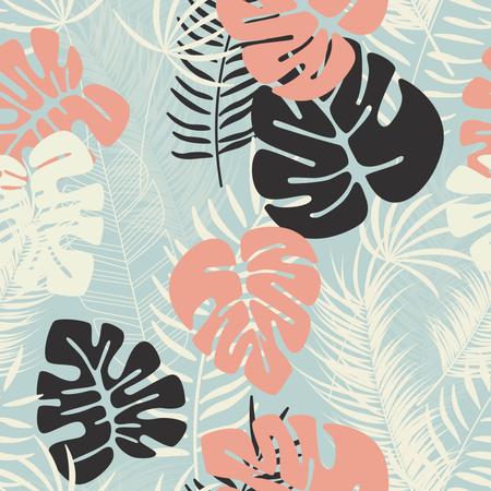 Summer seamless tropical pattern with colorful monstera palm leaves and plants on blue background Illustration