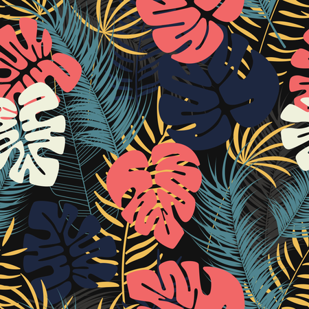 Summer seamless tropical pattern with colorful monstera palm leaves and plants on dark background Illustration