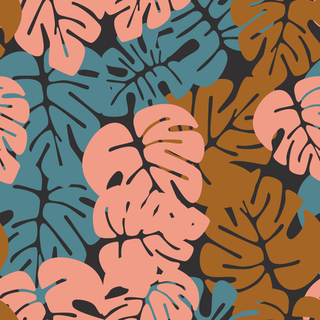 Summer seamless tropical pattern with colorful monstera palm leaves on dark background Illustration
