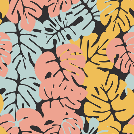 Summer seamless tropical pattern with colorful monstera palm leaves on white background Illustration