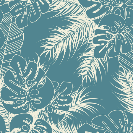 Summer seamless tropical pattern with monstera palm leaves and plants on blue background Illustration