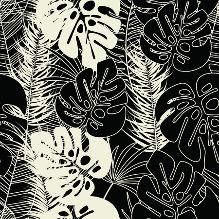 Summer seamless tropical pattern with monstera palm leaves and plants on dark background Illustration